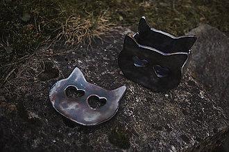 Nádoby - Keramická sada mydlenička a pohár, mačka - 11572619_