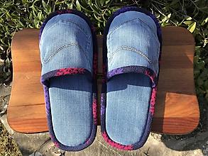 Obuv - Modré denim papuče s farebným  lemom - 11569359_
