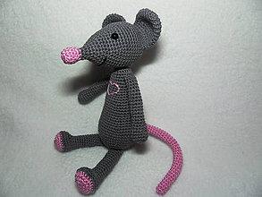 Hračky - Háčkovaná myška Hryzka - 25cm - 11569923_