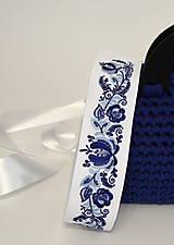 Opasky - vyšívaný opasok -folk (tmavo modrá-svetlo modrá) - 11569651_