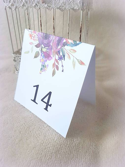 "Čísla na stôl ""Aubergine rose"""