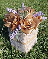 Dekorácie - Box so saténových kvetov E - 11570209_