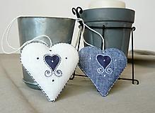Dekorácie - Srdce ľanové modré - 11572220_