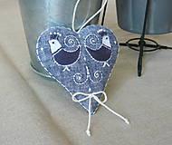 Dekorácie - Srdce ľanové s vtáčikmi - 11572249_