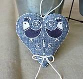 Dekorácie - Srdce ľanové s vtáčikmi - 11572252_