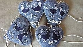 Dekorácie - Srdce ľanové s vtáčikmi - 11572257_