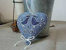 Dekorácie - Srdce ľanové s vtáčikmi - 11572260_