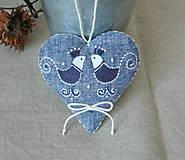 Dekorácie - Srdce ľanové s vtáčikmi - 11572263_