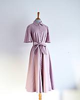 Šaty - Ľanovo-viskózne košeľové šaty s perlovými gombíkmi - 11572824_