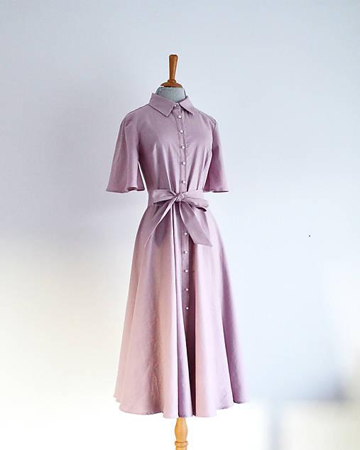 Ľanovo-viskózne košeľové šaty s perlovými gombíkmi