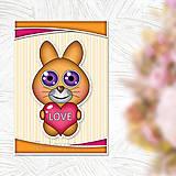 Papiernictvo - Valentínska pohľadnica roztomilé zverky - zajačik - 11570800_