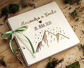 Papiernictvo - Svadobná kniha hostí, drevený fotoalbum - Hory 2 - 11573485_