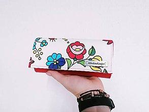 Peňaženky - Priehradková peňaženka z ekokože + maľované kvety - 11576608_