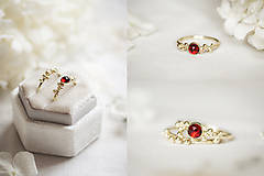 Prstene - Zlatý prsteň s granátom - Bokeh Gold Garnet - 11574391_