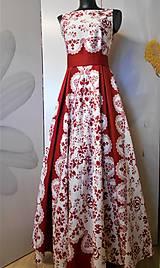 """Šaty - FLORAL FOLK """"Red & White"""", spoločenské dlhé šaty (biely podklad + červený ornament nový vzor !) - 11573720_"""