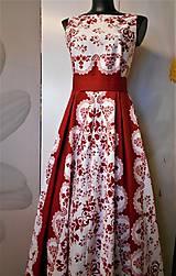"""Šaty - FLORAL FOLK """"Red & White"""", spoločenské dlhé šaty (biely podklad + červený ornament nový vzor !) - 11573721_"""