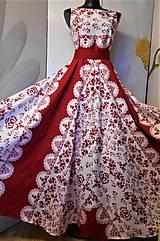 """Šaty - FLORAL FOLK """"Red & White"""", spoločenské dlhé šaty (biely podklad + červený ornament nový vzor !) - 11573722_"""