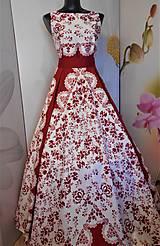"""Šaty - FLORAL FOLK """"Red & White"""", spoločenské dlhé šaty (biely podklad + červený ornament nový vzor !) - 11573743_"""
