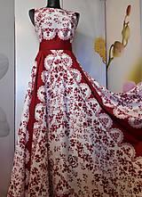 """Šaty - FLORAL FOLK """"Red & White"""", spoločenské dlhé šaty (biely podklad + červený ornament nový vzor !) - 11573868_"""