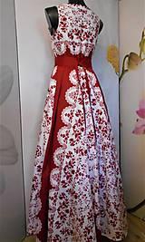 """Šaty - FLORAL FOLK """"Red & White"""", spoločenské dlhé šaty (biely podklad + červený ornament nový vzor !) - 11574236_"""