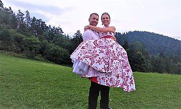 """Šaty - FLORAL FOLK """"Red & White"""", spoločenské dlhé šaty (biely podklad + červený ornament REZERVOVANÉ !!!!) - 11573684_"""