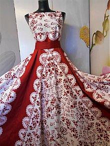 """Šaty - FLORAL FOLK """"Red & White"""", spoločenské dlhé šaty (biely podklad + červený ornament nový vzor !) - 11573725_"""