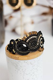 Náramky - Čierno-zlatý šujtášový náramok so Swarovski kryštálmi - 11576206_