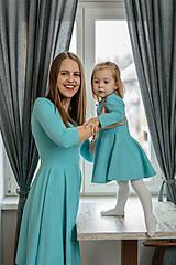 Detské oblečenie - Šaty - aqua dlhý rukáv - 11575225_
