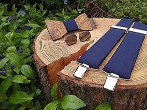 Doplnky - Pánsky drevený motýlik a traky - 11574716_