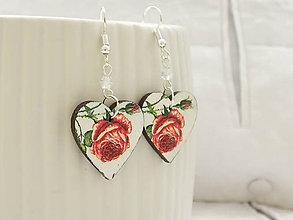 Náušnice - Srdiečkové s ružičkami maľované náušnice - 11573541_