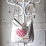Veľké tašky - Veľká ľanová taška *I ❤️ folk* - 11573881_