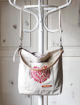 Veľké tašky - Veľká ľanová taška *I ❤️ folk* - 11573882_