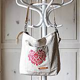 Veľké tašky - Veľká ľanová taška *I ❤️ folk* - 11573885_