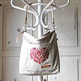 Veľké tašky - Veľká ľanová taška *I ❤️ folk* - 11573886_