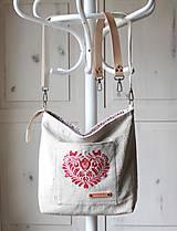 Veľké tašky - Veľká ľanová taška *I ❤️ folk* - 11573887_
