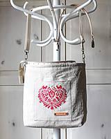 Veľké tašky - Veľká ľanová taška *I ❤️ folk* - 11573890_