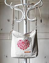Veľké tašky - Veľká ľanová taška *I ❤️ folk* - 11573891_