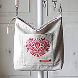 Veľké tašky - Veľká ľanová taška *I ❤️ folk* - 11573918_