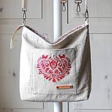 Veľké tašky - Veľká ľanová taška *I ❤️ folk* - 11576132_