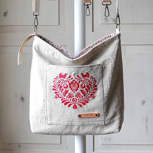 Veľká ľanová taška *I ❤️ folk*