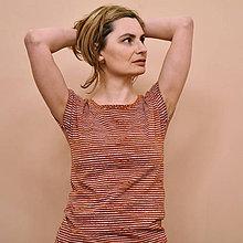 Tričká - Tričko Vanda - Skořicová v proužcích - 11574164_