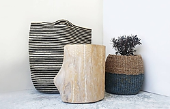 drevený taburet BIELY DUB