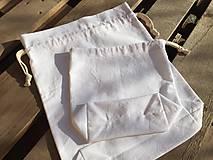 Úžitkový textil - sada-biele bavlnené vrecka - 11573896_