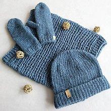 Čiapky - Dámsky pletený set - alpaka + merino - 11573772_