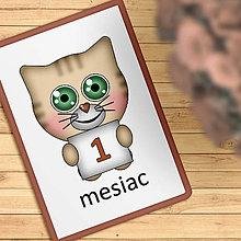 Detské doplnky - Roztomilé zverky - míľnikové kartičky (mačička) - 11573443_
