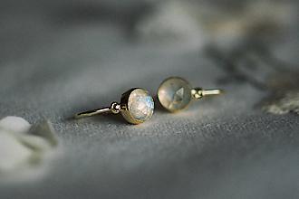 Náušnice - Detské zlaté náušnice s mesačným kameňom - MALÁláska - 11578239_