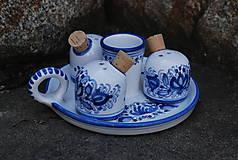 Nádoby - Modrá maľovaná trojsolnička - 11578311_