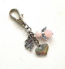 """Kľúčenky - Kľúčenka """"bridesmaid/družička"""" s minerálovým anjelikom - ruženín - 11578152_"""