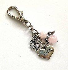 """Kľúčenky - Kľúčenka """"bride/nevesta"""" s minerálovým anjelikom - ruženín - 11578164_"""