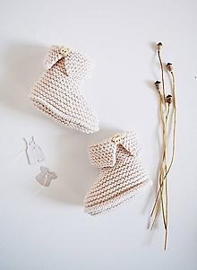 Topánočky - Papučky pre bábätko - dievčatko (Púdrová - dĺžka: 9 cm) - 11579236_